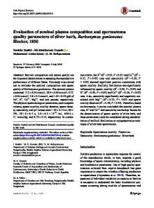 Evaluation of seminal plasma composition and ...