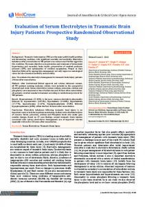 Evaluation of Serum Electrolytes in Traumatic Brain Injury Patients ...