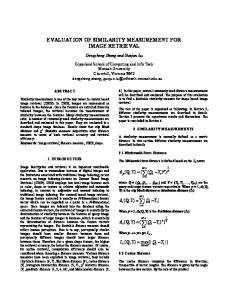 EVALUATION OF SIMILARITY MEASUREMENT FOR IMAGE ...