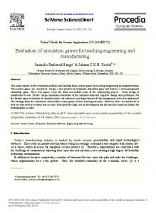 Evaluation of Simulation Games for Teaching ... - ScienceDirect.com