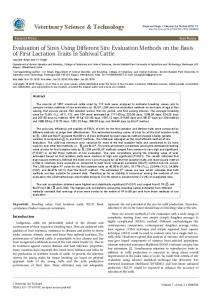 Evaluation of Sires Using Different Sire Evaluation Methods on the ...