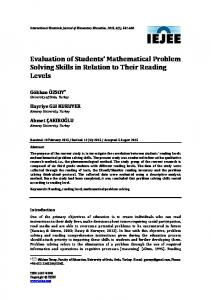 Evaluation of Students' Mathematical Problem Solving Skills in ...