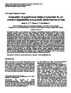 Evaluation of subchronic dietary fumonisin B1 on nutrient digestibility
