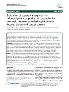 Evaluation of superparamagnetic iron oxide-polymer composite ...