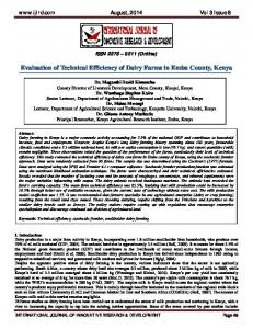 Evaluation of Technical Efficiency of Dairy Farms in ...