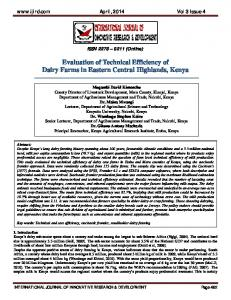 Evaluation of Technical Efficiency of Dairy Farms in Eastern Central ...