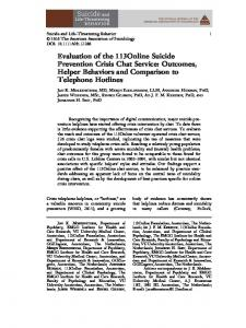 Evaluation of the 113Online Suicide Prevention Crisis Chat Service ...