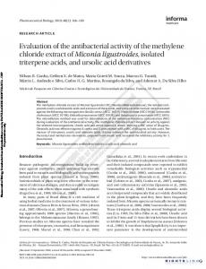 Evaluation of the antibacterial activity of the
