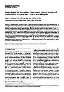Evaluation of the Antioxidant Capacity and Phenolic