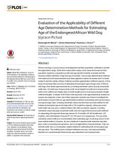 Evaluation of the Applicability of Different Age Determination Methods ...