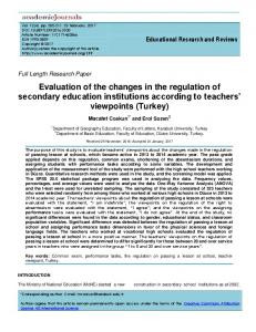 Evaluation of the changes in the regulation of secondary ... - Eric
