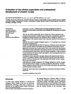 Evaluation of the clinical supervision and ... - Wiley Online Library