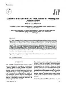 Evaluation of the Effect of Lime Fruit Juice on the Anticoagulant Effect ...