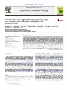 Evaluation of the effects of preconditioning regimens on hepatic veno ...