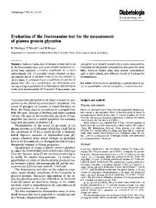 Evaluation of the fructosamine test for the ... - Springer Link