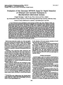Evaluation of the Genotype MTBDR Assay for Rapid Detection of ...