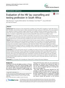 Evaluation of the HIV lay counselling and testing ... - CDC Stacks