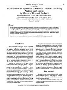 Evaluation of the Hydration of Portland Cement Containing Various ...