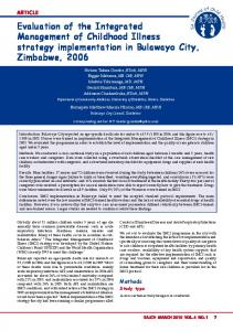 Evaluation of the Integrated Management of Childhood Illness strategy ...