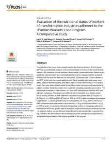 Evaluation of the nutritional status of workers of transformation ... - PLOS