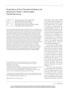 Evaluation of the Periodontal Status of Abutment