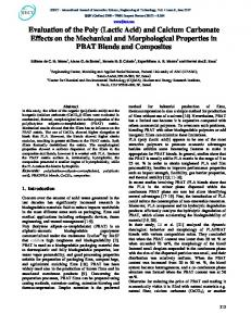 Evaluation of the Poly (Lactic Acid) and Calcium Carbonate ... - IJISET