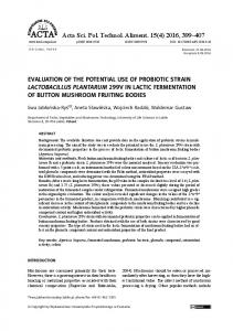 Evaluation of the potential use of probiotic strain Lactobacillus ...