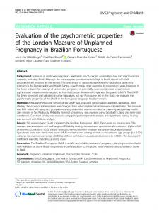 Evaluation of the psychometric properties of the