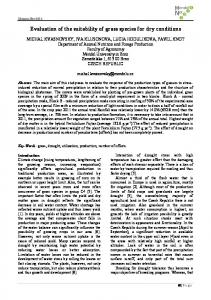 Evaluation of the suitability of grass species for dry ... - Kiwi.mendelu.cz