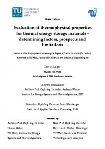 Evaluation of thermophysical properties for thermal