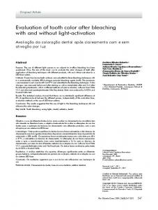 Evaluation of tooth color after bleaching with and without ... - SciELO