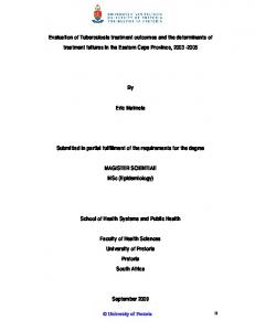 Evaluation of Tuberculosis treatment outcomes and the determinants ...