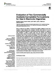 Evaluation of Two Commercially Available Cannabidiol ... - Core