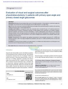 Evaluation of visual and surgical outcomes after