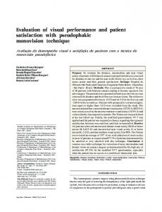 Evaluation of visual performance and patient