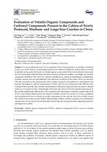 Evaluation of Volatile Organic Compounds and Carbonyl Compounds ...