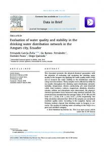 Evaluation of water quality and stability in the drinking water ...