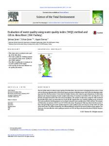 Evaluation of water quality using water quality index ...