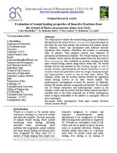 Evaluation of wound healing properties of bioactive fractions from the ...