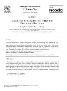 Evaluation on the Competitiveness of High-tech ... - ScienceDirect