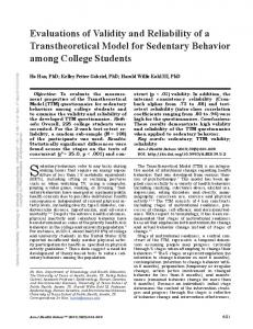 Evaluations of Validity and Reliability of a Transtheoretical Model for ...