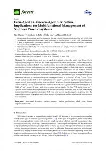 Even-Aged vs. Uneven-Aged Silviculture: Implications for ... - MDPI