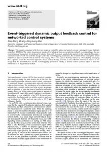Event-triggered dynamic output feedback control for ... - IEEE Xplore