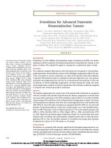 Everolimus for Advanced Pancreatic Neuroendocrine Tumors