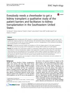 Everybody needs a cheerleader to get a kidney transplant: a ...