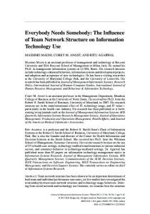 Everybody Needs Somebody: The Influence of Team Network ...
