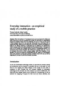 Everyday interaction - an empirical study of a ... - Semantic Scholar