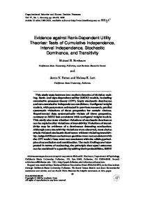 Evidence against Rank-Dependent Utility Theories: Tests of ...