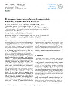 Evidence and quantitation of aromatic