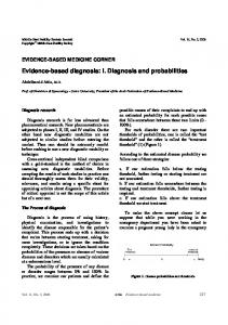 Evidence-based diagnosis: I. Diagnosis and probabilities